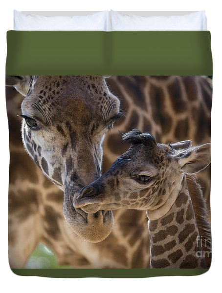 Duvet Cover featuring the photograph Masai Giraffe And Calf by San Diego Zoo