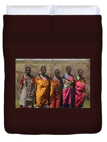 Duvet Cover featuring the photograph Masai Women Chorus by Tom Wurl