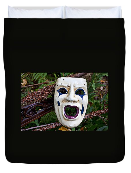 Mask And Ladybugs Duvet Cover by Garry Gay