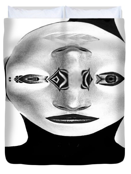 Duvet Cover featuring the painting Mask Black And White by Rafael Salazar