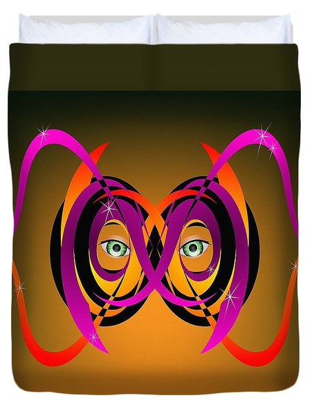 Duvet Cover featuring the digital art Mask In Purple And Orange by MM Anderson