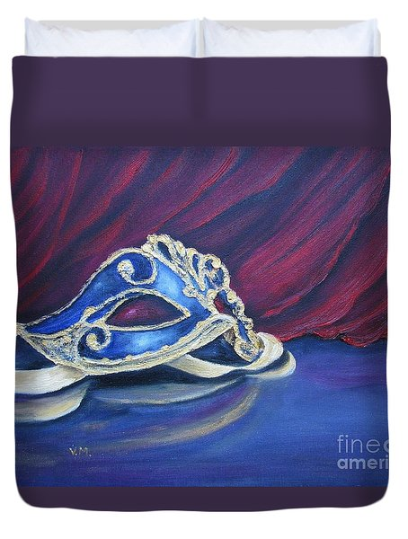 Duvet Cover featuring the painting Mask by Vesna Martinjak