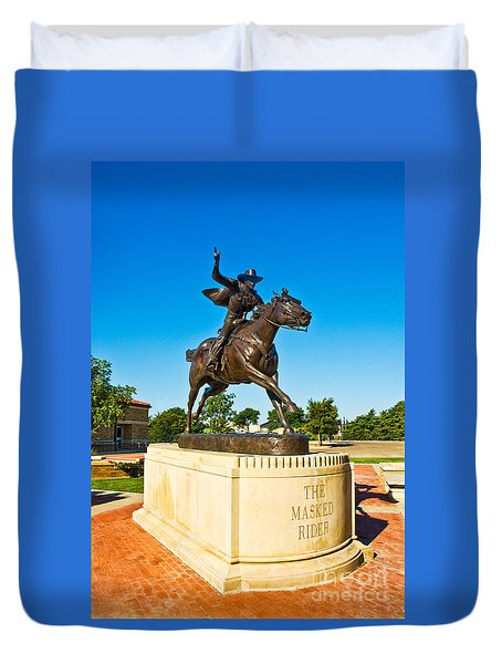 Duvet Cover featuring the photograph Masked Rider Statue by Mae Wertz