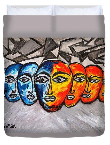 Masks Duvet Cover by Ramona Matei