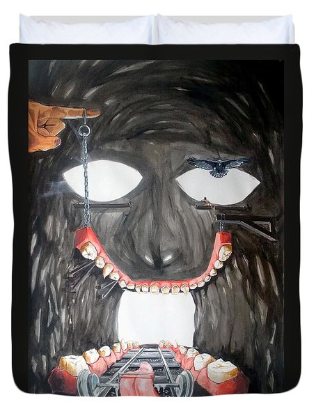 Duvet Cover featuring the painting Masquera Carcaza  by Lazaro Hurtado