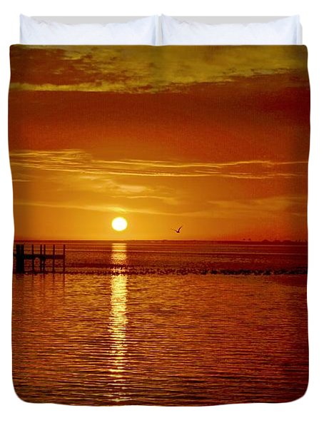 Duvet Cover featuring the photograph Mass Migration Of Birds With Colorful Clouds At Sunrise On Santa Rosa Sound by Jeff at JSJ Photography