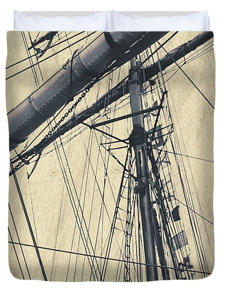 Mast And Rigging Postcard Duvet Cover