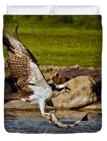 Duvet Cover featuring the photograph Master Fisherman by Jack Bell