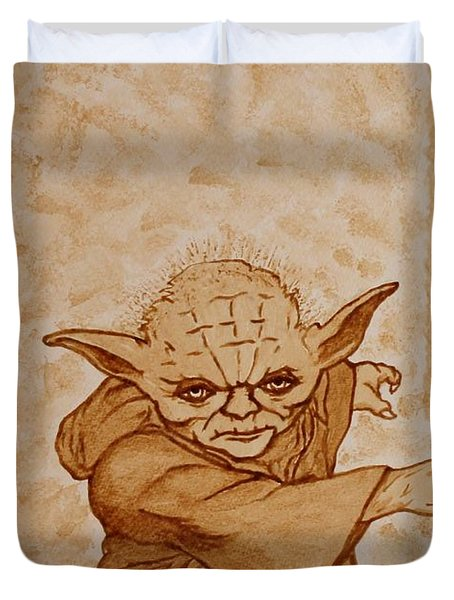 Duvet Cover featuring the painting Master Yoda Jedi Fight Beer Painting by Georgeta  Blanaru