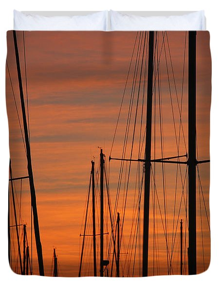 Masts At Sunset Duvet Cover