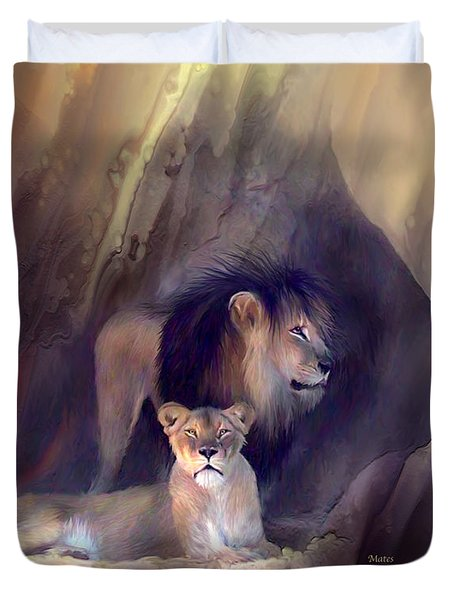 Mates Duvet Cover by Carol Cavalaris
