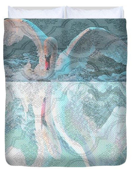 Mating Dance Of The Swan Duvet Cover by PainterArtist FIN