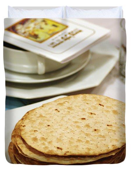 Matza And Haggada For Pesach Duvet Cover