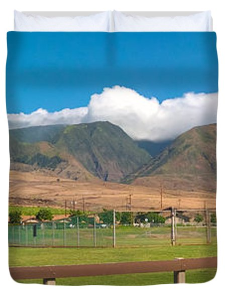 Maui Hawaii Mountains Near Kaanapali   Duvet Cover by Lars Lentz