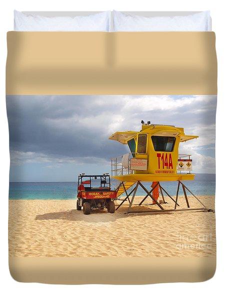Maui Lifeguard Tower Duvet Cover