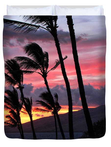 Maui Sunset Duvet Cover by Peggy Hughes