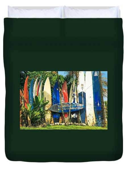 Maui Surfboard Fence - Peahi Hawaii Duvet Cover
