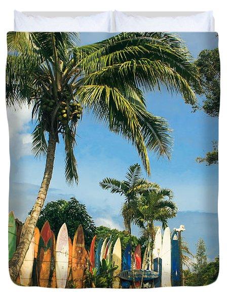 Maui Surfboard Fence - Peahi Duvet Cover by Sharon Mau