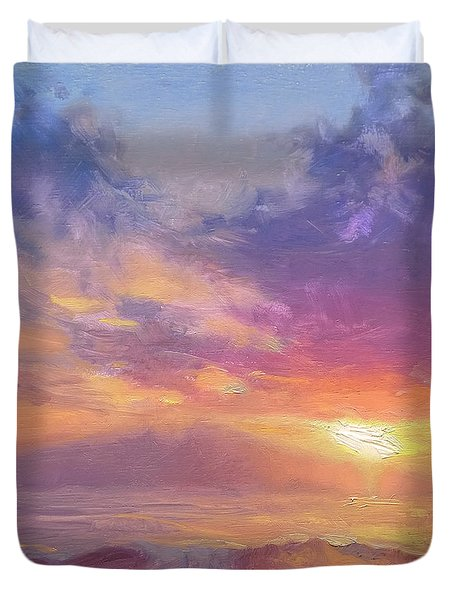 Coastal Hawaiian Beach Sunset Landscape And Ocean Seascape Duvet Cover
