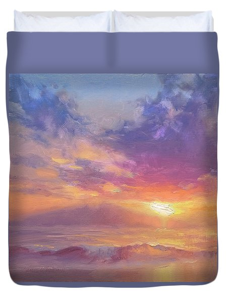 Maui To Molokai Hawaiian Sunset Beach And Ocean Impressionistic Landscape Duvet Cover
