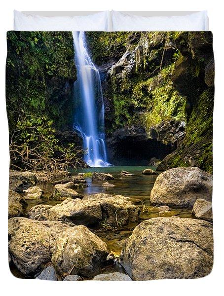 Maui Waterfall Duvet Cover by Adam Romanowicz