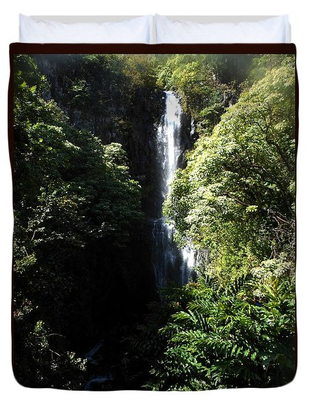 Maui Waterfall Duvet Cover by Fred Wilson