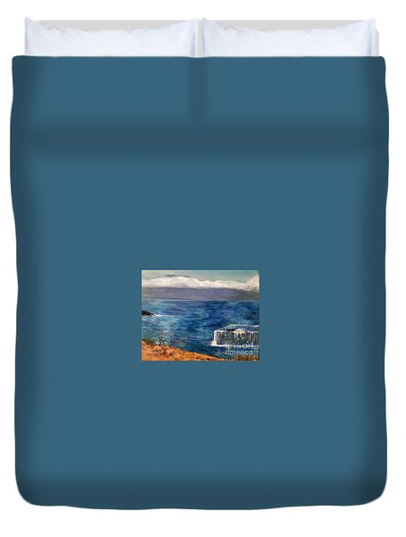 Duvet Cover featuring the painting Frida Goes To Maui by Vanessa Palomino