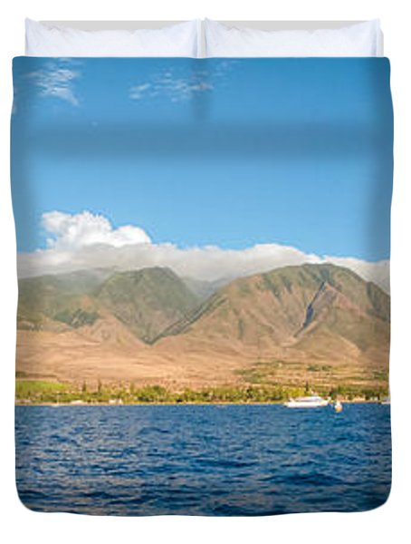 Duvet Cover featuring the photograph Maui's Southern Mountains   by Lars Lentz