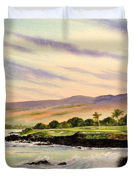 Mauna Kea Golf Course Hawaii Hole 3 Duvet Cover by Bill Holkham