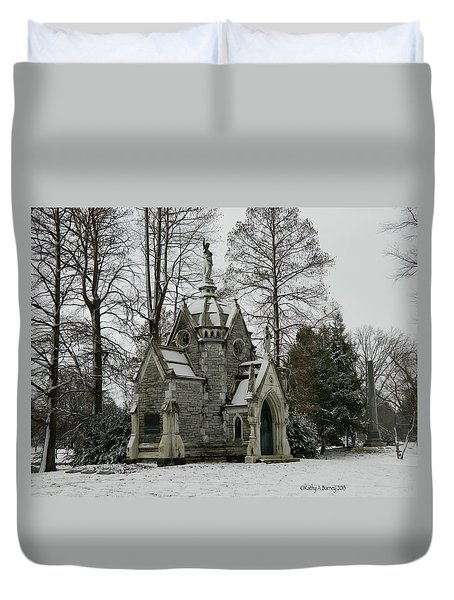 Duvet Cover featuring the photograph Mausoleum In Winter by Kathy Barney