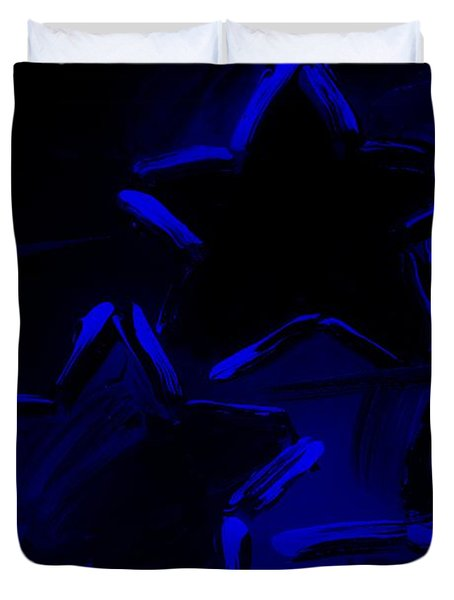 Max Two Stars In Blue Duvet Cover by Rob Hans