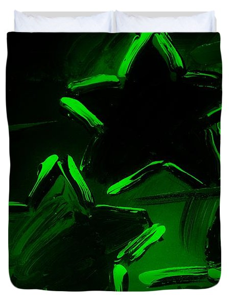 Max Two Stars In Green Duvet Cover by Rob Hans