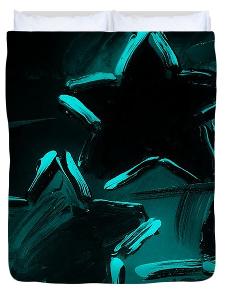 Max Two Stars In Turquois Duvet Cover by Rob Hans
