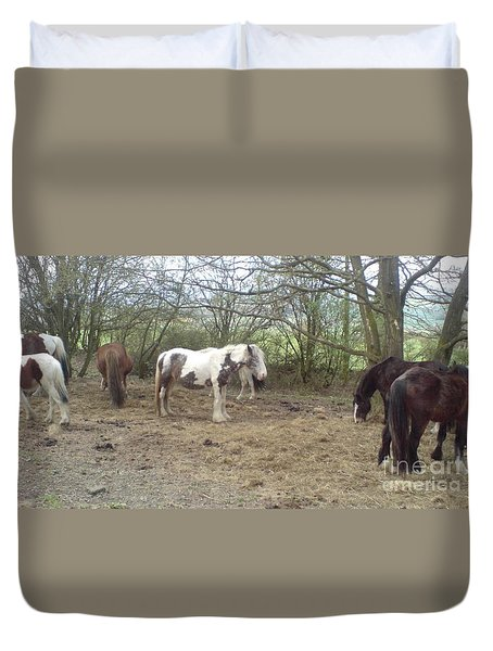 Duvet Cover featuring the photograph May Hill Ponies 1 by John Williams