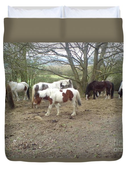 Duvet Cover featuring the photograph May Hill Ponies 2 by John Williams