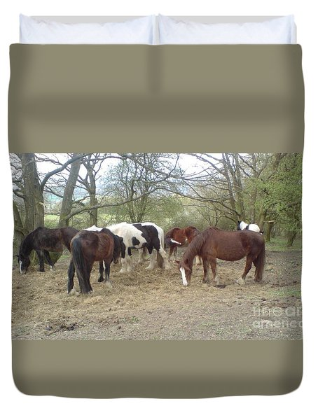 Duvet Cover featuring the photograph May Hill Ponies 3 by John Williams