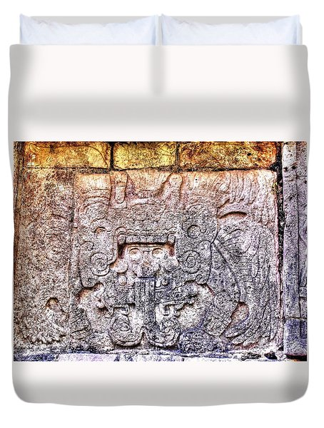 Mayan Hieroglyphic Carving Duvet Cover by Paul Williams