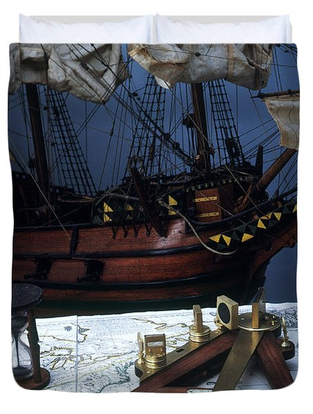 Mayflower Model With Quadrant Duvet Cover by Fred Maroon