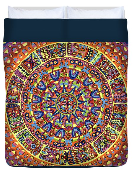 Mayhem Tikis Duvet Cover by Chris  Rolling