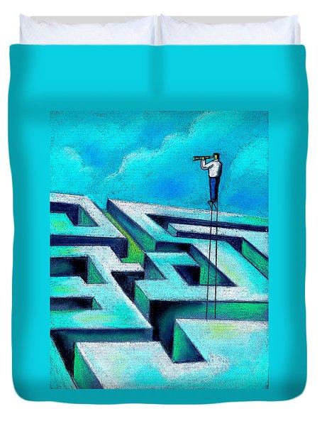Maze Duvet Cover by Leon Zernitsky