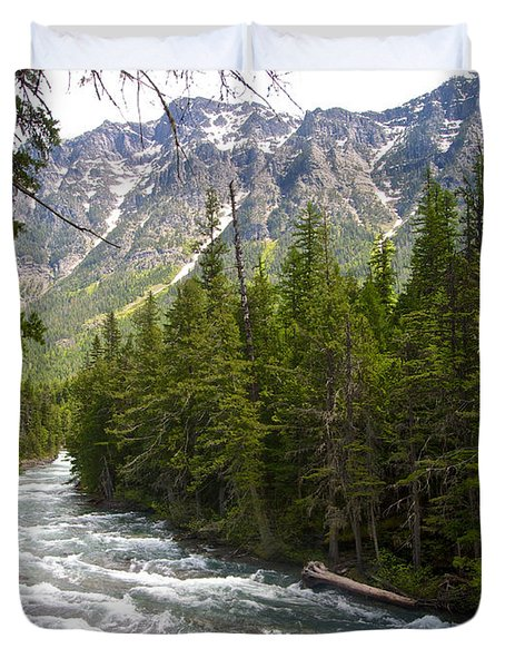 Mcdonald Creek In Glacier Np-mt Duvet Cover