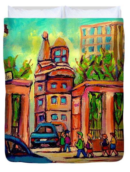Mcgill University Roddick Gates Montreal Duvet Cover by Carole Spandau