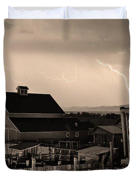 Mcintosh Farm Lightning Sepia Thunderstorm Duvet Cover by James BO  Insogna