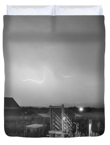 Mcintosh Farm Lightning Thunderstorm View Bw Duvet Cover by James BO  Insogna