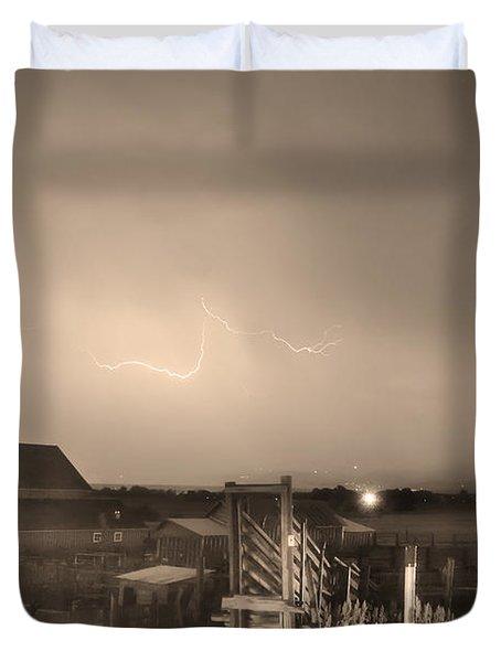 Mcintosh Farm Lightning Thunderstorm View Sepia Duvet Cover by James BO  Insogna