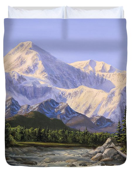 Majestic Denali Mountain Landscape - Alaska Painting - Mountains And River - Wilderness Decor Duvet Cover