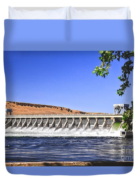 Mcnary  Hydroelectric Dam Duvet Cover by Robert Bales