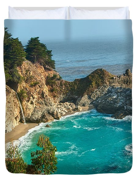 Mcway Falls Along The Big Sur Coast. Duvet Cover by Jamie Pham