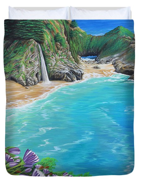 Duvet Cover featuring the painting Mcway Falls by Jane Girardot