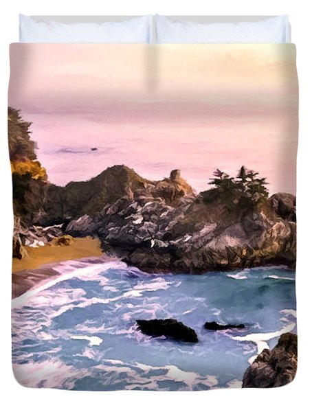 Mcway Falls Pacific Coast Duvet Cover by Bob and Nadine Johnston
